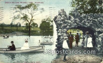 Grotto & Lake, Mitchell Park - MIlwaukee, Wisconsin WI Postcard