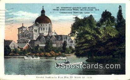St Josephat Church &S chool - MIlwaukee, Wisconsin WI Postcard