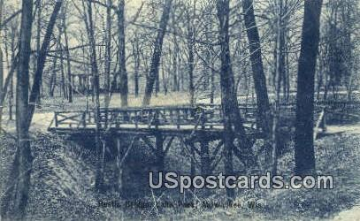 Rustic Bridge, Lake Park - MIlwaukee, Wisconsin WI Postcard