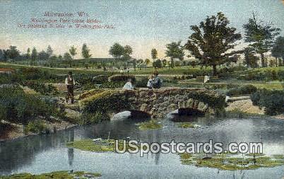 Washington Park Stone Bridge - MIlwaukee, Wisconsin WI Postcard