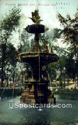 Fountain, Franklin Park - MIlwaukee, Wisconsin WI Postcard