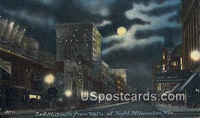 3rd Street, Wells - MIlwaukee, Wisconsin WI Postcard