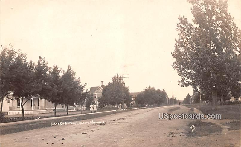 Scene on Depot Street - Manawa, Wisconsin WI Postcard