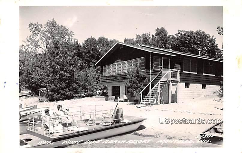 White Lake Beach Resort - Montello, Wisconsin WI Postcard