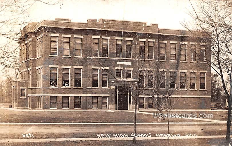 New High School - Manawa, Wisconsin WI Postcard