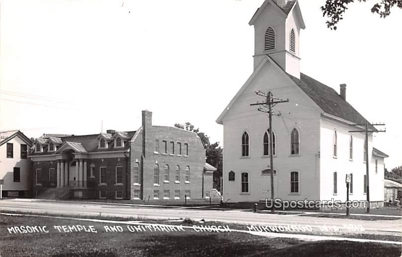 Masonic Temple and Unitarian Church - Mukwonago, Wisconsin WI Postcard
