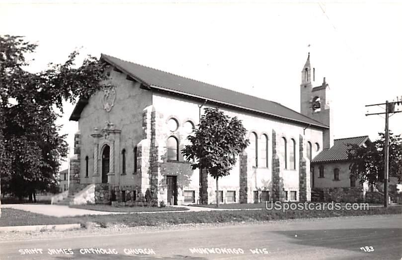 Saint James Catholic Church - Mukwonago, Wisconsin WI Postcard