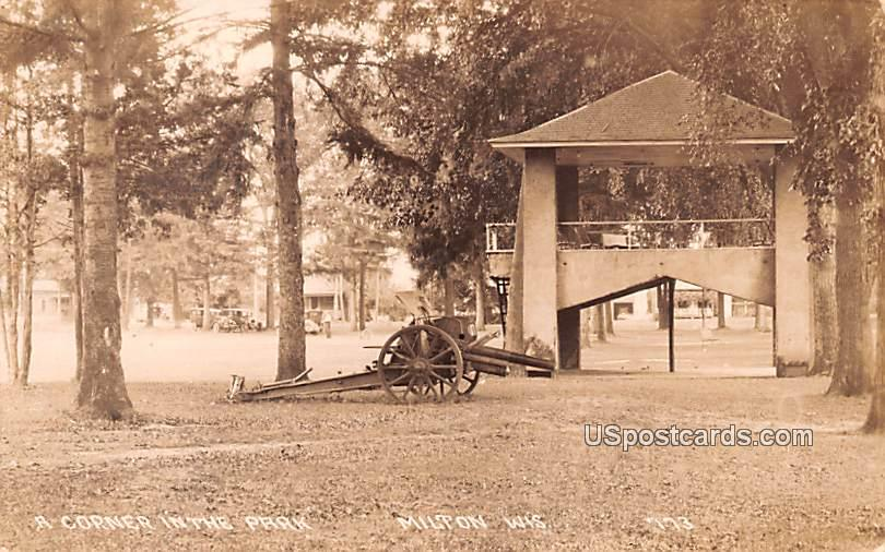 Corner in the Park - Milton, Wisconsin WI Postcard