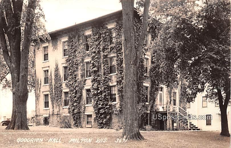 Goodrich Hall - Milton, Wisconsin WI Postcard