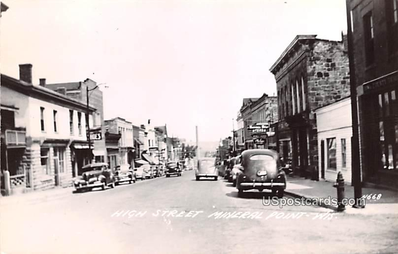 High Street - Mineral Point, Wisconsin WI Postcard