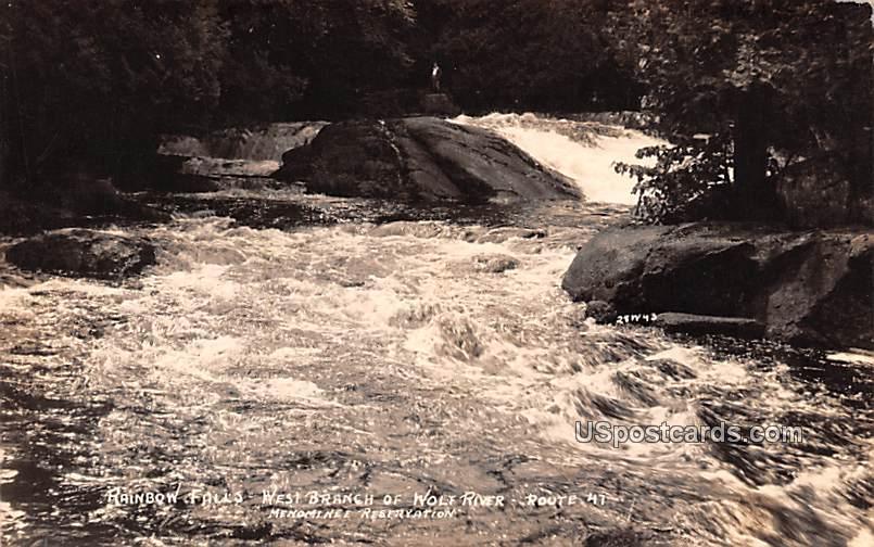 Rainbow Falls - Menominee Reservation, Wisconsin WI Postcard