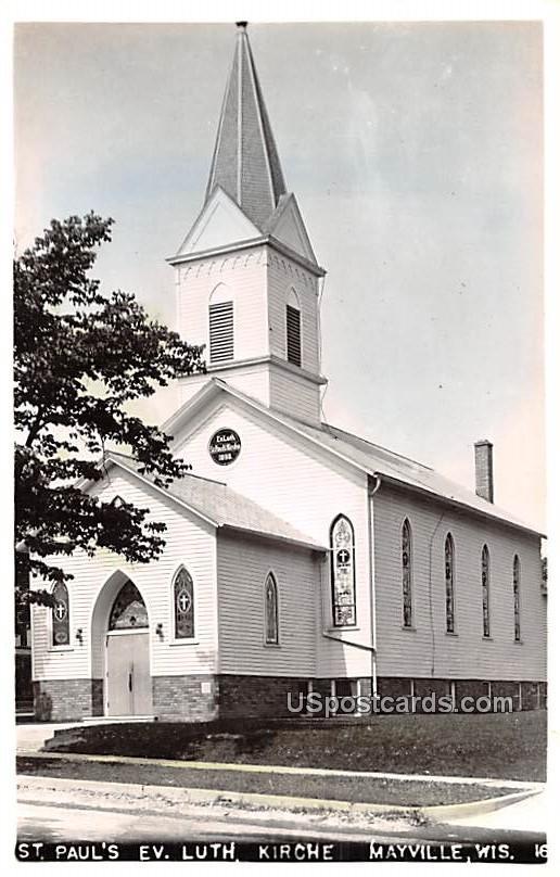 St Paul's Evangelical Lutheran Church - Mayville, Wisconsin WI Postcard