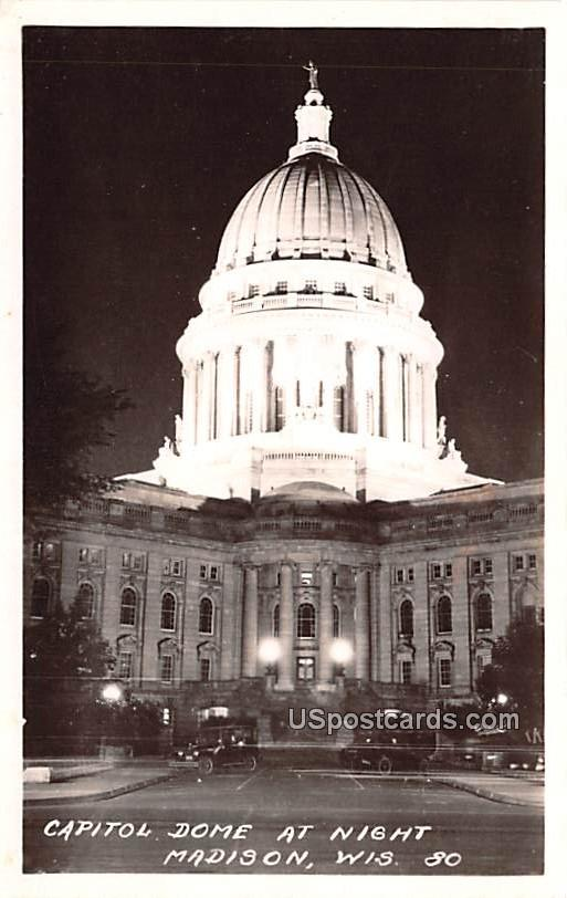 Capitol Dome at Night - Madison, Wisconsin WI Postcard
