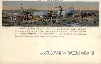 Indians Attacking Wagon Train Painting - MIlwaukee, Wisconsin WI Postcard