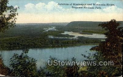 Junstion of Mississippi & Wisonsin Rivers - Misc, Wisconsin WI Postcard