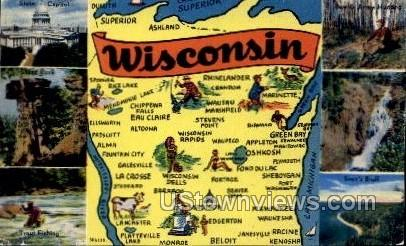 Map - Misc, Wisconsin WI Postcard