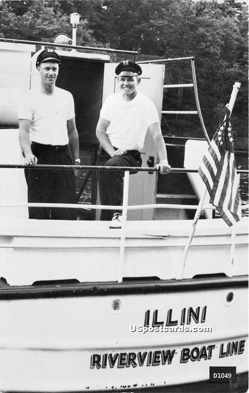 Illini Riverview Boat Line - Misc, Wisconsin WI Postcard