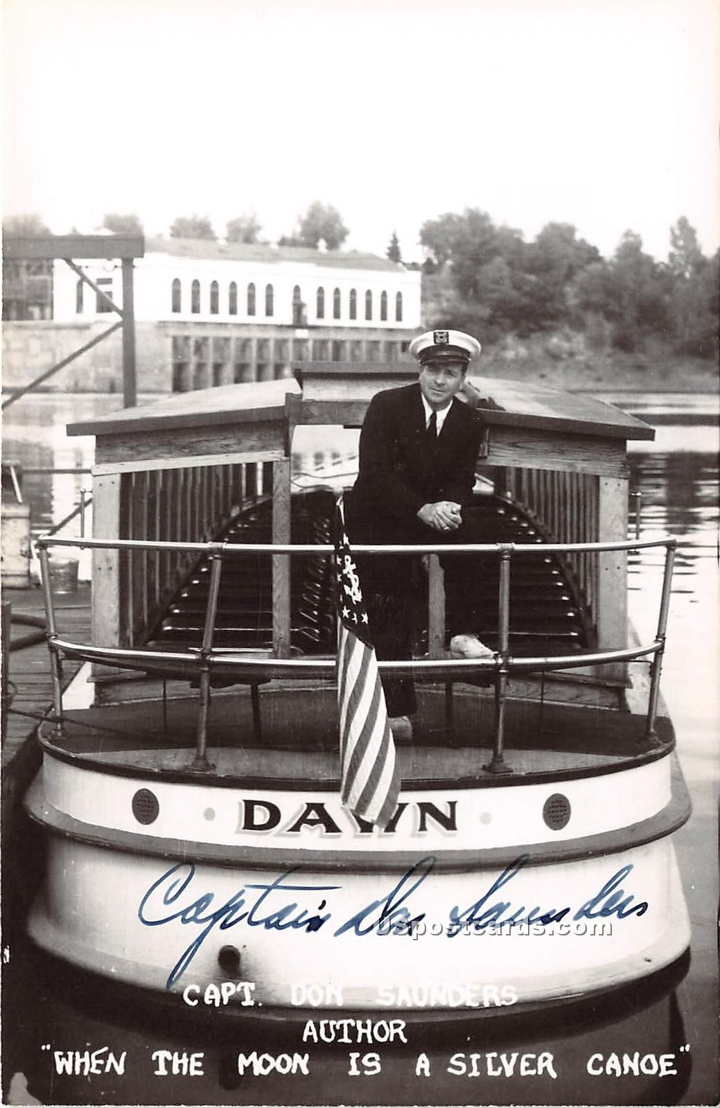 Capt Don Saunders, Author of When the Moon is a Silver Canoe - Misc, Wisconsin WI Postcard