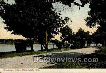Riverside Drive - Neenah, Wisconsin WI Postcard