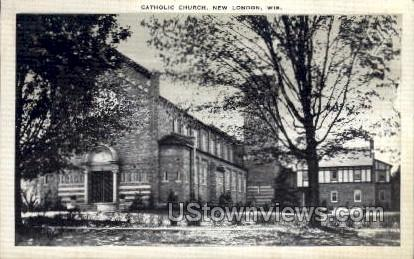 Catholic Church  - New London, Wisconsin WI Postcard