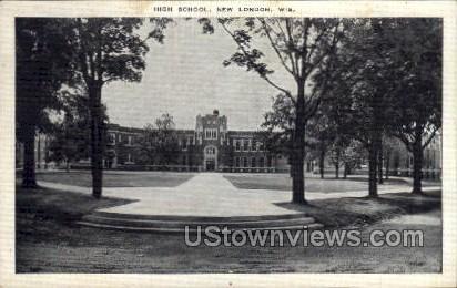 High School - New London, Wisconsin WI Postcard
