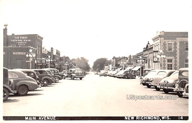 Main Avenue - New Richmond, Wisconsin WI Postcard