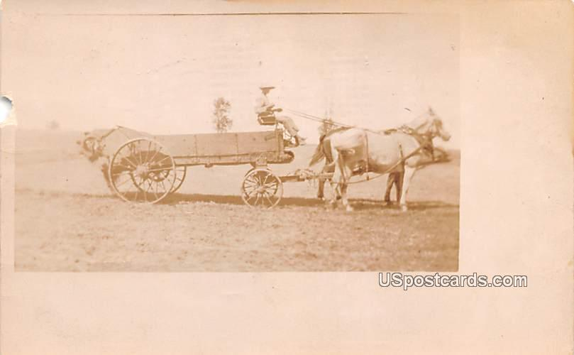 Pulled Cart - Neeah, Wisconsin WI Postcard