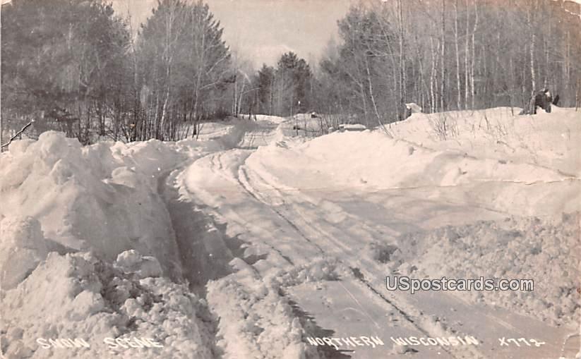 Snow Scene - Northern Wisconsin Postcards, Wisconsin WI Postcard