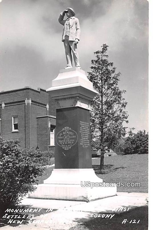 Monument in Memory of the First Settlers of the Swiss Colony - New Glarus, Wisconsin WI Postcard