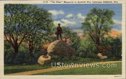 Memorial To Spanish War Veterans - Oshkosh, Wisconsin WI Postcard