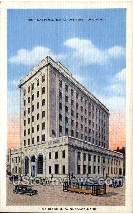 First National Bank - Oshkosh, Wisconsin WI Postcard