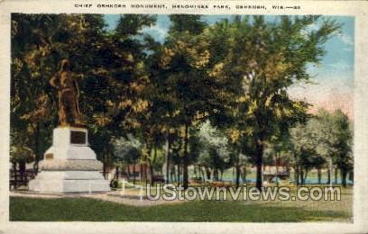 Chief Oshkosh Monument - Wisconsin WI Postcard