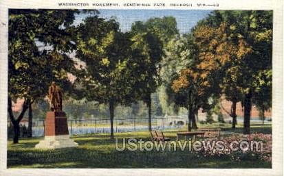 Washington Monument - Oshkosh, Wisconsin WI Postcard