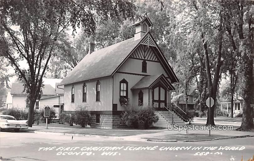 First Christian Science Church in the World - Oconto, Wisconsin WI Postcard