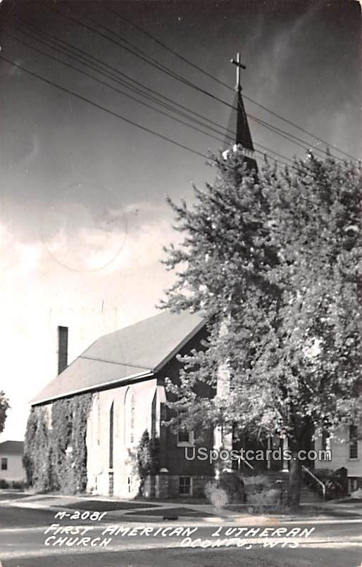 First American Lutheran Church - Oconto, Wisconsin WI Postcard