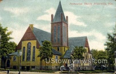 Presbyterian Church - Portage, Wisconsin WI Postcard