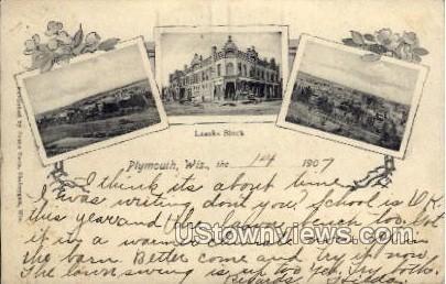 Laacks Block - Plymouth, Wisconsin WI Postcard