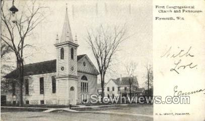 First Congregational Church - Plymouth, Wisconsin WI Postcard
