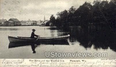 The River And The Wooded Isle - Plymouth, Wisconsin WI Postcard