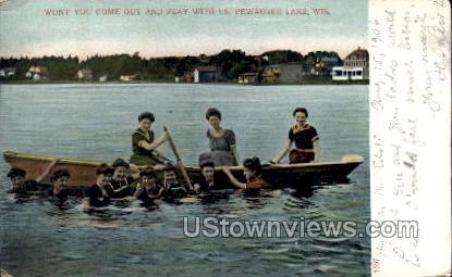 Pewaukee Lake, Wisconsin Postcard