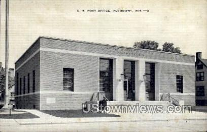 Post Office - Plymouth, Wisconsin WI Postcard