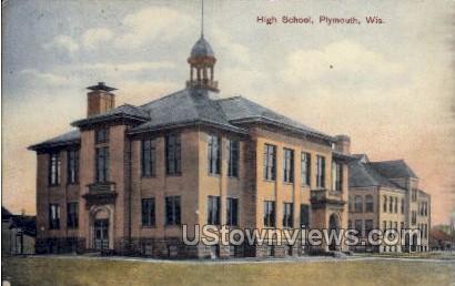 High School - Plymouth, Wisconsin WI Postcard
