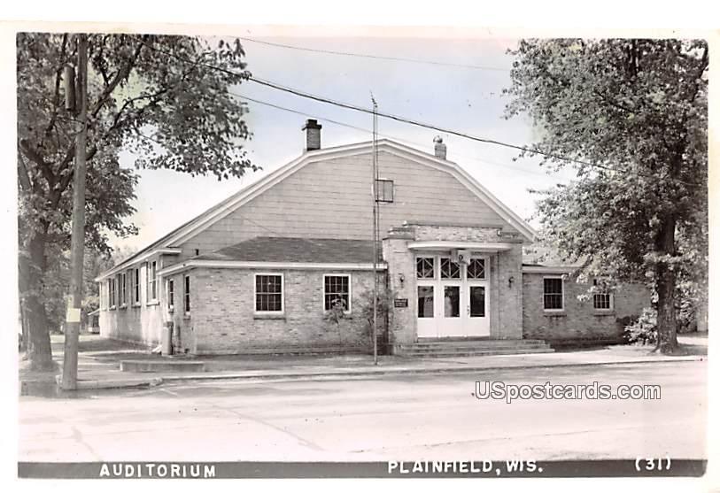 Auditorium - Plainfield, Wisconsin WI Postcard