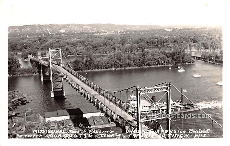 Mississippi Tow Passing Under Suspension Bridge - Prairie Du Chien, Wisconsin WI Postcard
