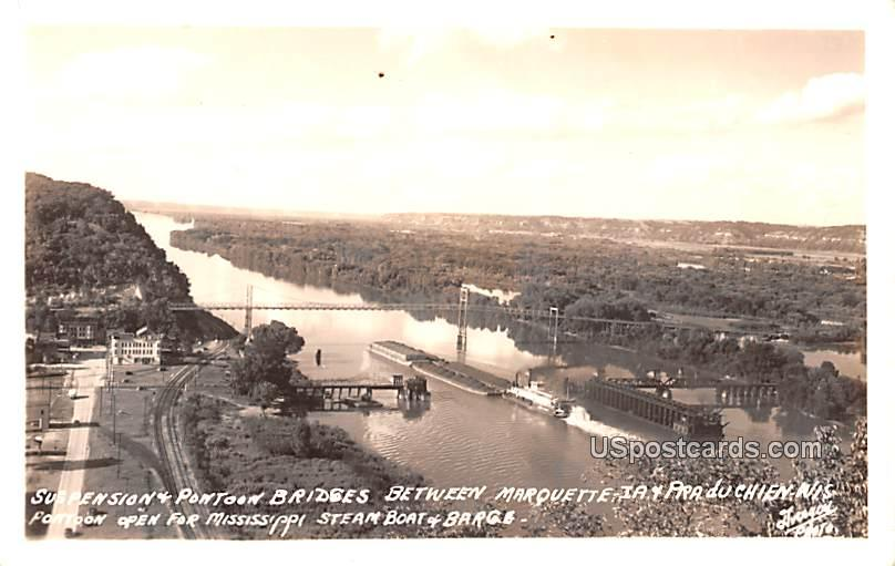 Suspension & Pontoon Bridge - Prairie Du Chien, Wisconsin WI Postcard