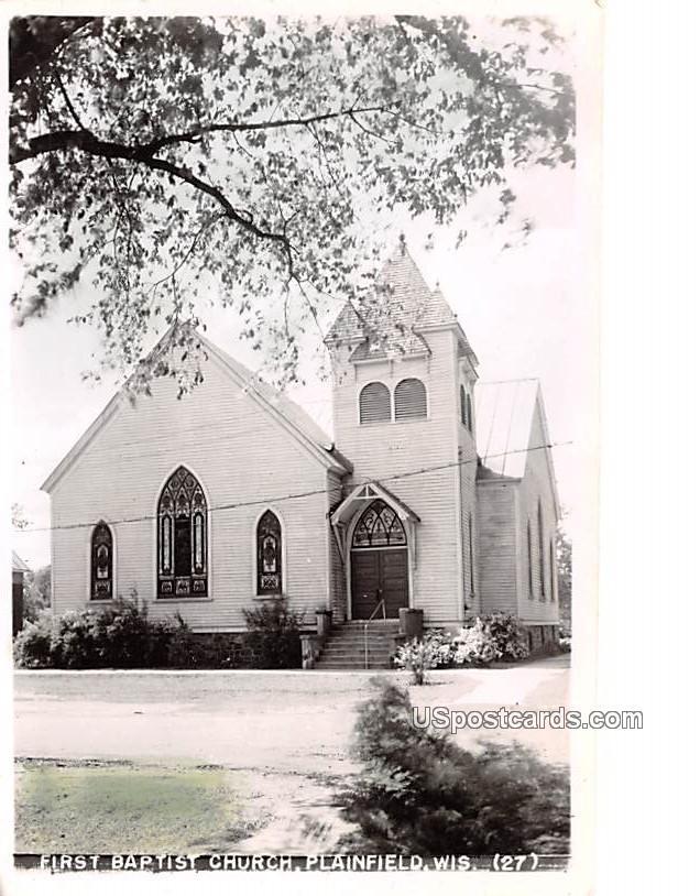 First Baptist Church - Plainfield, Wisconsin WI Postcard