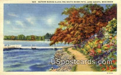 South Shore Path - Lake Geneva, Wisconsin WI Postcard
