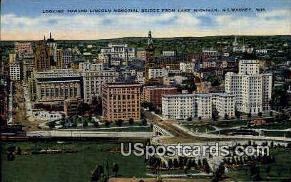 Lincoln Bridge - MIlwaukee, Wisconsin WI Postcard
