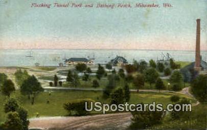 Bathing Beach - MIlwaukee, Wisconsin WI Postcard