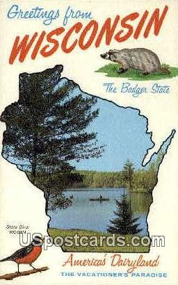 Badger State - Misc, Wisconsin WI Postcard